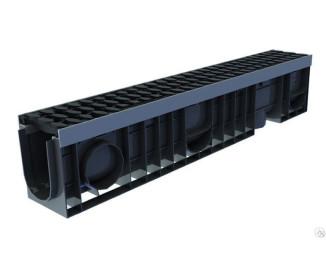 Лоток водоотводный пластиковый Master DN100 H135 B125 с решеткой